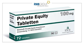 "eine Schachtel ""Private Equity Tabletten"""